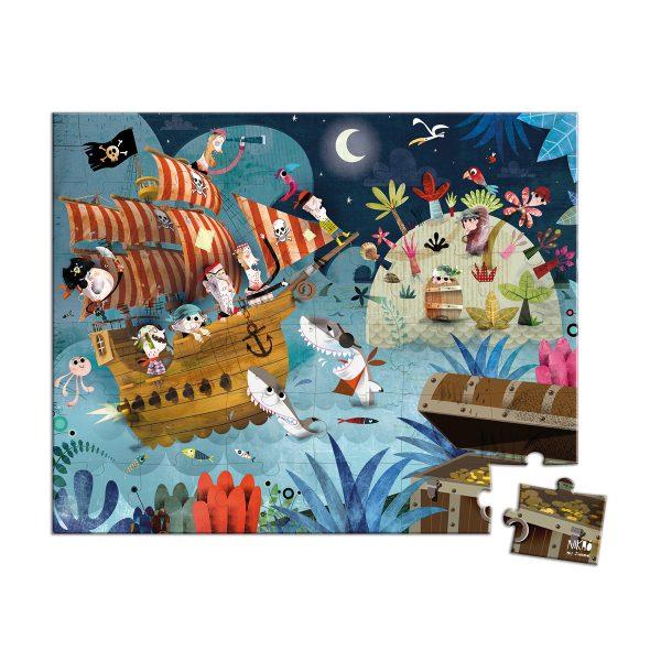 puzzel - puzzel piraten - Janod Puzzel - Panorama jungle - janod - dieren puzzel - bos puzzel - dieren in de jungle - speelgoed - houten speelgoed - educatief speelgoed - dn houten tol - de mouthoeve - boekel - stoere puzzel - jongens puzzel - puzzel in koffer - piraten puzzel