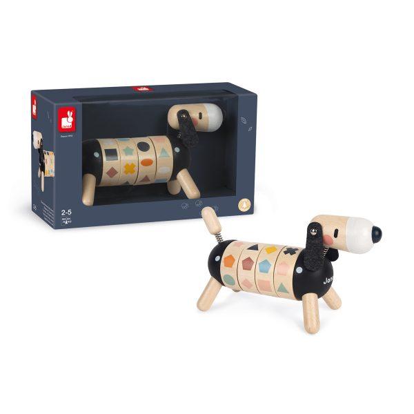 Janod Sweet Cocoon - Hond met Vormen en Kleuren - hond - houten hond - leerzame hond - speelgoed - houten speelgoed - educatief speelgoed - dn houten tol - de mouthoeve - boekel - speelgoedwinkel boekel - shop - winkel