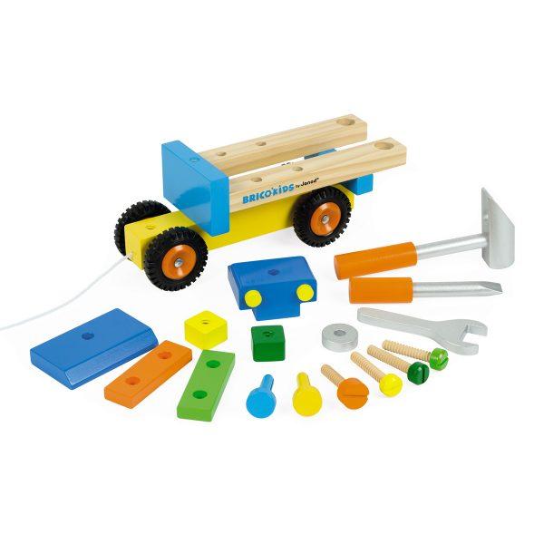 Janod Vrachtwagen Original - vrachtwagen - houten vrachtwagen - gereedschap vrachtwagen - speelgoed - houten speelgoed - educatief speelgoed - janod - dn houten tol - de mouthoeve - boekel - speelgoedwinkel boekel - shop - webshop