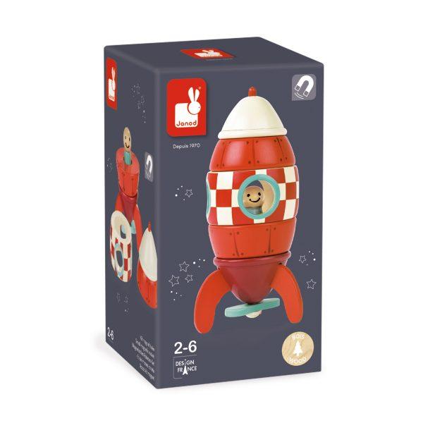 magneten raket - raket - raket kuifje - janod - speelgoed - educatief speelgoed - houten speelgoed - dn houten tol - de mouthoeve - boekel - shop - winkel - kinder speelgoed - magneet