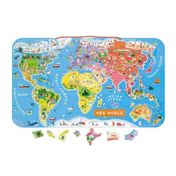 Janod Magneetbord - De wereld (ENG) - wereld - magneten - speelgoed - educatief speelgoed - leerzame puzzel - puzzel - houten speelgoed - dn houten tol - de mouthoeve - boekel - speelgoedwinkel boekel - janod - engels talig