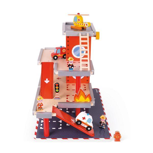 Janod Garage - Brandweerkazerne - janod - houten brandweerkazerne - brandweer - vuur - politie - ambulance - speelgoed - houten speelgoed - educatief speelgoed - dn houten tol - de mouthoeve - boekel -speelgoedwinkel boekel - shop