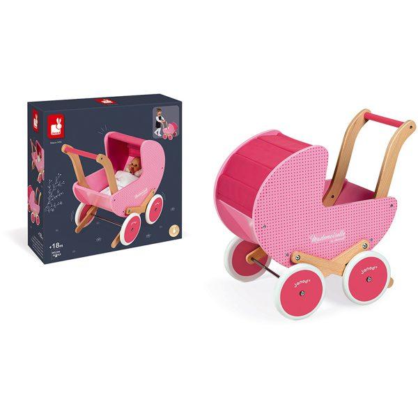 Janod Mademoiselle - Poppenwagen - houten poppenwagen - roze poppenwagen - janod - speelgoed - houten speelgoed - educatief speelgoed - dn houten tol - de mouthoeve - boekel - speelgoedwinkel boekel - shop