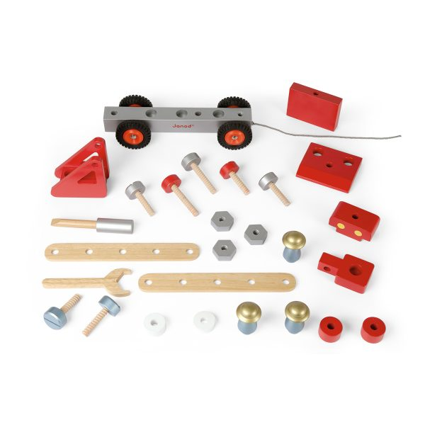 brandweerauto - houten brandweerauto - rode brandweerauto - trekfiguur - trekauto - brandweerauto met hoogwerker - janod - speelgoed - houten speelgoed - educatief speelgoed - dn houten tol - de mouthoeve - boekel - speelgoedwinkel boekel - shop