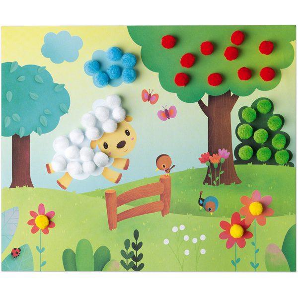 Janod Atelier - Pom-pom kaarten maken - kaarten maken - kaarten maken voor kinderen - pompoen - speelgoed - janod - houten speelgoed - knutselen - knutselen voor kinderen - educatief speelgoed - dn houten tol - de mouthoeve - boekel - speelgoedwinkel boekel - webshop