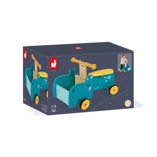 Janod Bakfiets Nijlpaard - nijlpaard - bakfiets - loopfiets - houten loopfiets - houten bakwagen - kinder bakwagen - speelgoed - houten speelgoed - educatief speelgoed - janod - dn houten tol - de mouthoeve - boekel - speelgoedwinkel boekel