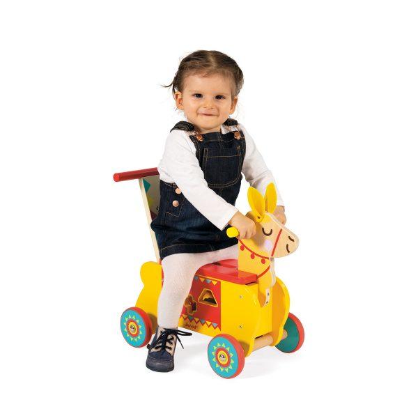 Janod Loopauto Lama - loopauto - lama - houten loopauto - houten lama - janod - speelgoed - houten speelgoed - educatief speelgoed - dn houten tol - de mouthoeve - boekel - speelgoedwinkel boekel - shop - winkel