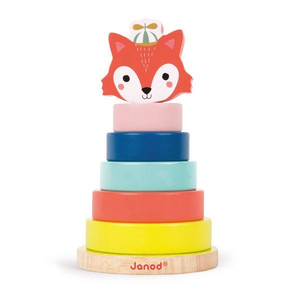 Janod Baby Forest - Stapeltoren vos - stapeltoren - stapel ringen - houten speelgoed - speelgoed - baby speelgoed - educatief speelgoed - dn houten tol - de mouthoeve - boekel - speelgoedwinkel boekel - shop - webshop