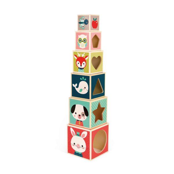 brabant - Janod Baby Forest - Stapeltoren blokken (6) - blokken - janod - houten blokken - baby blokken - speelgoed blokken - speelgoed - houten speelgoed - educatief speelgoed - dn houten tol - de mouthoeve - boekel - speelgoedwinkel boekel - shop - winkel