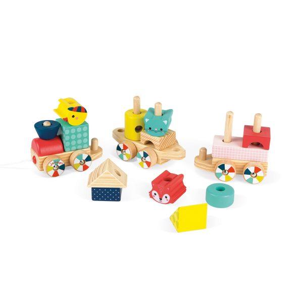 Janod baby jungle trein - houten trein - trein - kindertrein - speelgoedtrein - speelgoed - houten speelgoed - educatief speelgoed - dn houten tol - de mouthoeve - boekel - speelgoedwinkel boekel - shop - jungle