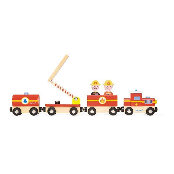 Janod Story - Brandweer Trein - brandweer - trein - houten trein - houten brandweertrein - speelgoed - houten speelgoed - educatief speelgoed - dn houten tol - de mouthoeve - boekel - speelgoedwinkel boekel - shop - webshop