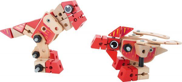 dino - houten dino - small foot - Small Foot Constructieset Dino 2 In 1 60-delig - dino - speelgoed - houten speelgoed - educatief speelgoed - dn houten tol - de mouthoeve - boekel - speelgoedwinkel boekel