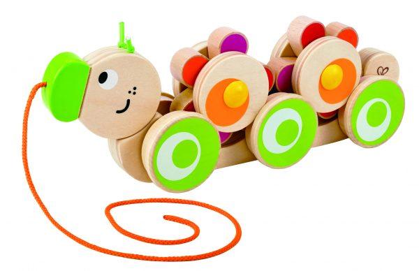 Walk-A-Long Caterpillar - hape - trekdier - rups - speelgoed - houten speelgoed- educatief speelgoed - baby speelgoed - dn houten tol - de mouthoeve - boekel - speelgoedwinkel
