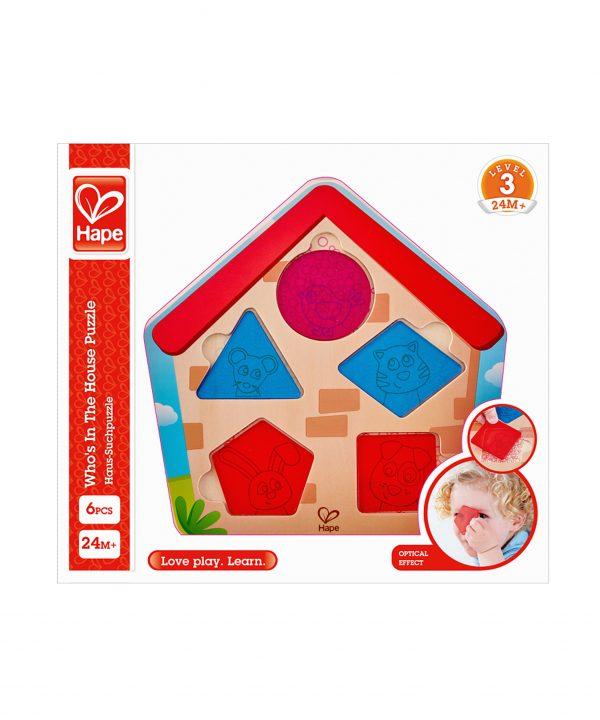 puzzel - houten puzzel - wie is er in het huis puzzel - Who's In The House Puzzle - hape - E1613 - speelgoed - houten speelgoed - educatief speelgoed - dn houten tol - de mouthoeve - speelgoedwinkel boekel