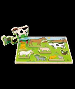 puzzel - boerderij puzzel - Farm Animals Stand Up Puzzle - houten puzzel - peuter puzzel - dieren puzzel - speelgoed - houten speelgoed - educatief speelgoed - dn houten tol - de mouthoeve - speelgoedwinkel boekel - hape