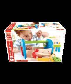 Fix-It Tool Box - gereedschapskist - houten gereedschapskist - hape - E3001 - speelgoed - houten speelgoed - educatief speelgoed - dn houten tol - de mouthoeve - speelgoedwinkel boekel