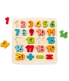 puzzel - cijfer puzzel - Chunky Number Math Puzzle - houten puzzel - speelgoed - houten speelgoed - educatief speelgoed - hape - E1550 - dn houten tol - de mouthoeve - speelgoedwinkel boekel