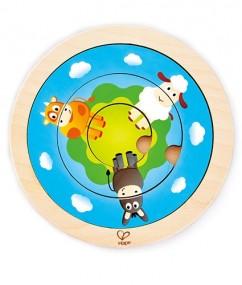 ronde puzzel - puzzel - draaiende boerderijpuzzel - Spinning Farm Puzzle - speelgoed - houten speelgoed - educatief speelgoed - dn houten tol - de mouthoeve - speelgoedwinkel boekel - hape - E1606