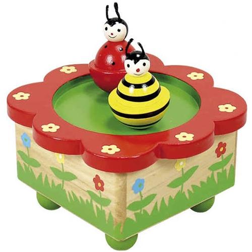 dansende bij en lieveheersbeestje - muziekdoosje - speelgoed - houten speelgoed - dn houten tol - de mouthoeve - boekel - playwood - webshop - winkel