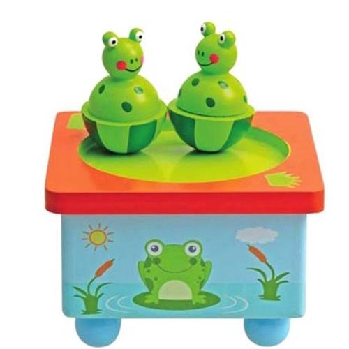 dansende kikkers - muziekdoosje - speelgoed - houten speelgoed - dn houten tol - de mouthoeve - boekel - playwood - webshop