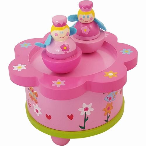 muziekdoosje - dansende prinses rond - bloem - roze - speelgoed - houten speelgoed - dn houten tol - de mouthoeve - boekel - playwood - prinses