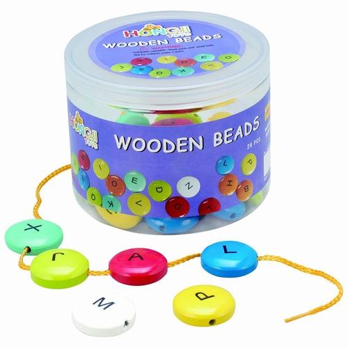 Kralen - houten kralen - letter kralen - smarties - speelgoed - houten speelgoed - ketting - rijgen - cadeau - dn houten tol - speelgoed winkel - de mouthoeve - boekel - wooden beads