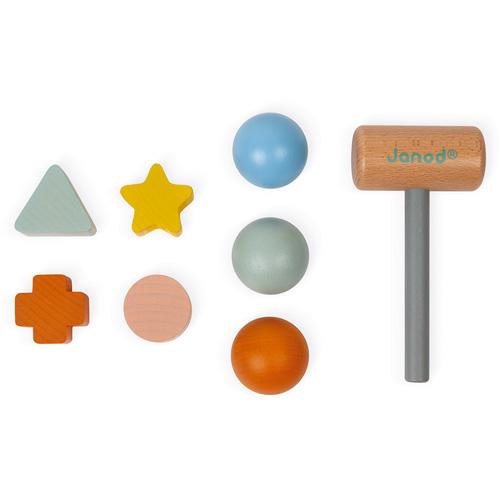 hamer en vormenstoof - hamertje tik - houten speelgoed - janod - webshop - speelgoedwinkel - dn houten tol - de mouthoeve - boekel - 114409
