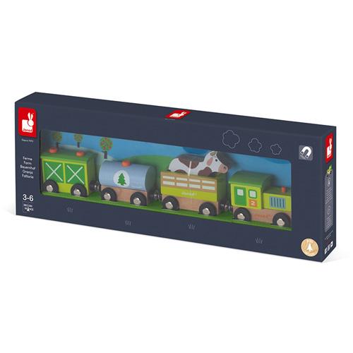 boerderij trein - houten trein - peuter - kleuter - speelgoed - hout - janod - koe - wagonnetjes - kraamcadeau - gender party - baby shower - baby - 118578 - dn houten tol - de mouthoeve - boekel - speelgoedwinkel - webshop - kinder trein