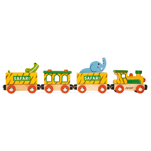 gender neutraal - sinterklaas -safari trein - houten trein - peuter - kleuter - speelgoed - hout - janod - koe - wagonnetjes - kraamcadeau - gender party - baby shower - baby - 118585 - dn houten tol - de mouthoeve - boekel - speelgoedwinkel - webshop - kinderen trein