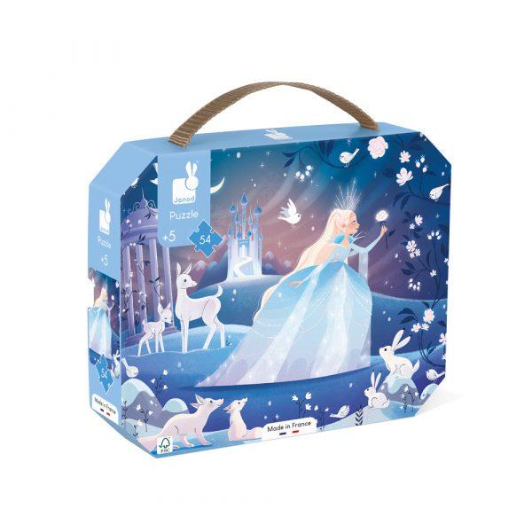 Puzzel - janod - puzzel in koffer - ijs prinses - Puzzelkoffer De Magie van het ijs - vanaf 5 jaar - 112665 - kleuter - schoolgaand kind - dn houten tol - Blizz - de mouthoeve - boekel - webshop - winkel - verjaardags cadeau